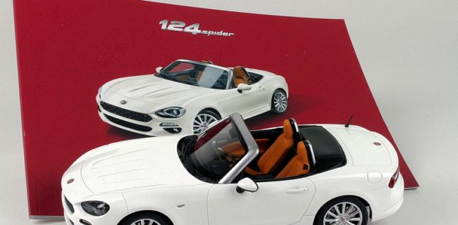 BBR Unveiled New Images Of Their Latest Project, The 1:18 Fiat 124 Spider.  Model Is Completed In White With Red/Black Interior.